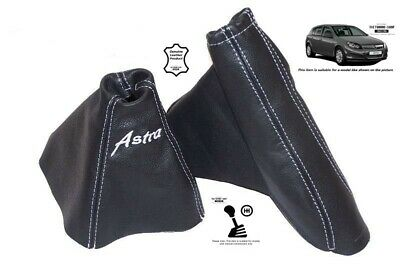 """For Opel Vauxhall Astra H 04-14 Gear Handbrake Gaiter """"Astra"""" White Embroidery"""