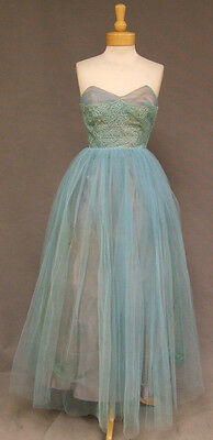 Floral Embroidered Bodice Aqua Tulle Strapless 1950's Prom Dress Gown