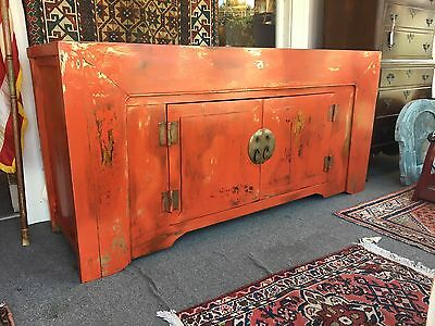 Vintage Chinese Cabinet Red Black & Gold Paint c 1920s NR