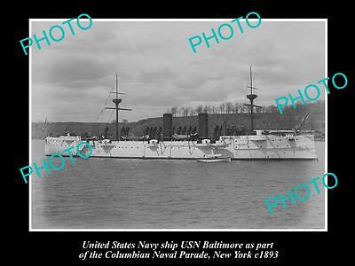 OLD LARGE HISTORIC PHOTO OF US NAVY WARSHIP, THE USN BALTIMORE c1893, NEW YORK