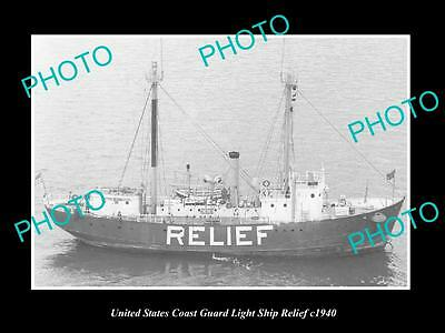 OLD LARGE HISTORIC PHOTO OF UNITED STATES COAST GUARD LIGHT SHIP RELIEF c1940