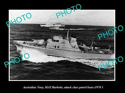 OLD LARGE HISTORIC PHOTO OF AUSTRALIAN NAVY, HMAS BARBETTE PATROL BOAT c1970 2