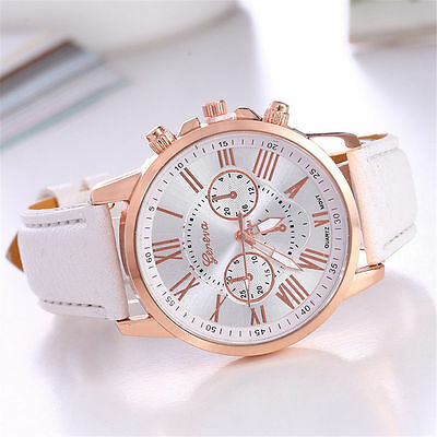 Women's New Geneva Fashion White Faux Leather Band Stainless Steel Analog Watch