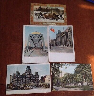 5x Antique Postcards from Montreal,Canada. Used
