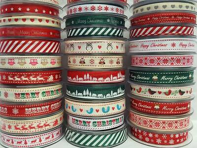 Christmas Grosgrain Ribbon 64 Festive Designs 3 6 9 15mm Sold in Various Lengths