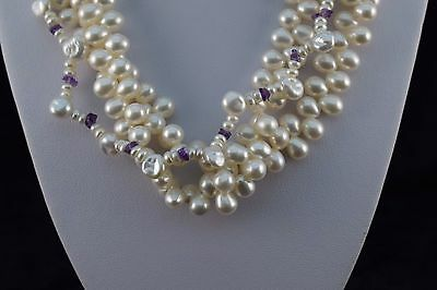 Fresh Water Pearl and Purple Amethyst 3 Strand Necklace, Silver Heart Clasp, 17""
