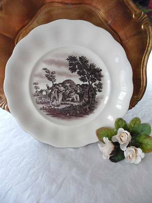 Dinner Plate Antique German Erphila-Ebeling Reuss Brown Pastoral Scenes 9-7/8""