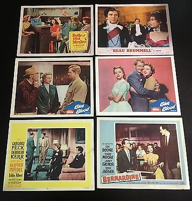 """Lot of 6 Original 1950s Hollywood Movie Lobby Cards w/ Gregory Peck - 11"""" x 14"""""""