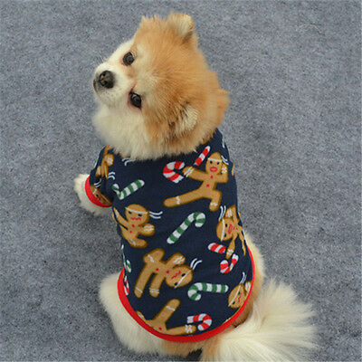 Pet Dog Puppy Christmas Autumn Winter Warm Pullover Embroidered Clothes Coat S