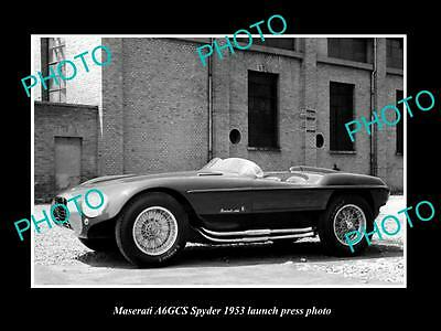 Old Large Historic Photo Of 1953 Maserati A6Gcs Spyder Car Launch Press Photo 2