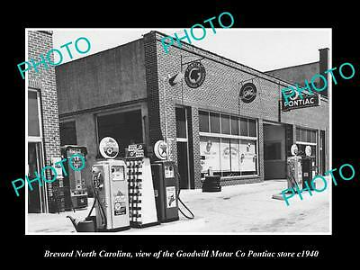 OLD LARGE HISTORIC PHOTO OF BREVARD NORTH CAROLINA, THE PONTIAC CAR STORE c1940