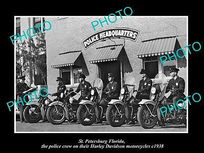 OLD HISTORIC PHOTO OF ST PETERSBURG FLORIDA, HARLEY DAVIDSON POLICE CREW c1938