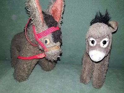Two Vintage German Grey Soft Toy Donkeys incl. Steiff