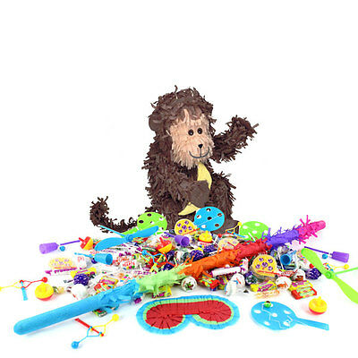 Monkey Piñata Kids Birthday Party Kit - Sweets Favours Blindfold & Buster
