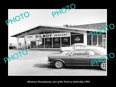 Old Large Historic Photo Of Allentown Pennsylvania, The Ford Car Dealership 1965