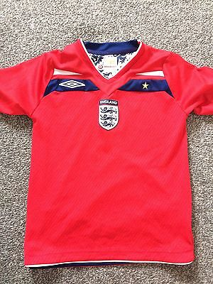 Boys England Red Away Football Shirt 2008 Sz Ahe 6-7 Yrs