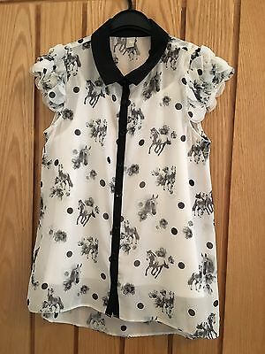 Girls F&F Horse Design Blouse. Age 12