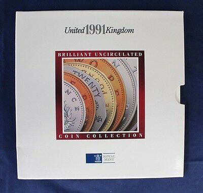 1991 Royal Mint 7 coin uncirculated set in folder   (A10/53)