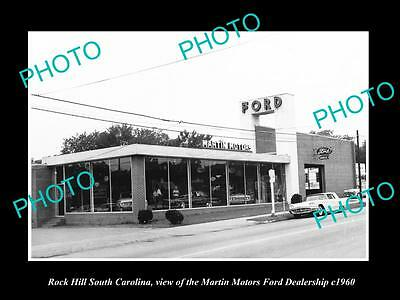 OLD LARGE HISTORIC PHOTO OF ROCK HILL SOUTH CAROLINA, THE FORD DEALERSHIP c1960