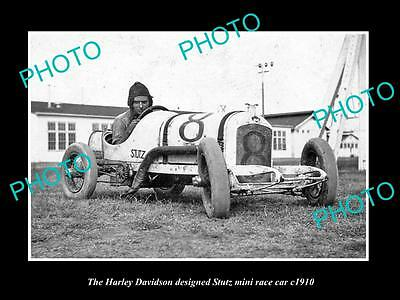OLD LARGE HISTORIC PHOTO OF THE HARLEY DAVIDSON STUTZ MIN RACE CAR c1910