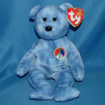 Ty Beanie Baby Peace 2003 - MWMT (Bear Blue Peace sign version 2002)