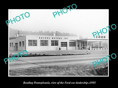 OLD LARGE HISTORIC PHOTO OF READING PENNSYLVANIA, THE FORD CAR DEALERSHIP c1955