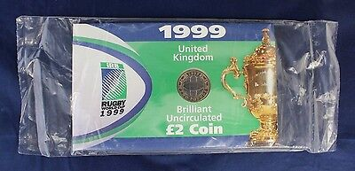 "1999 Royal Mint £2 coin ""Rugby World Cup"" in folder - Factory Sealed   (A10/55)"