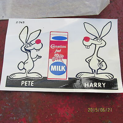 vintage CARNATION MILK  they also made  ICE CREAM ect  PET & HARRY  decal  SIGN