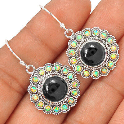Black Onyx & Fire Opal 925 Sterling Silver Earrings Jewelry EE35845
