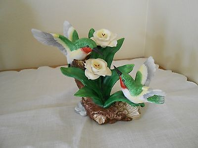 Hand Painted Porcelain Hummingbirds And Flowers Figurine YH 1997
