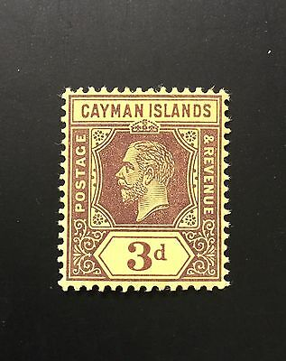 Cayman Islands KGV 1912 SG 45a* 3d purple on yellow MH