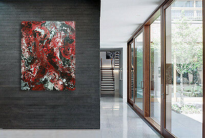 ORIGINAL MODERN OIL PAINTING Abstract Wall ART Contemporary canvas Decor Red
