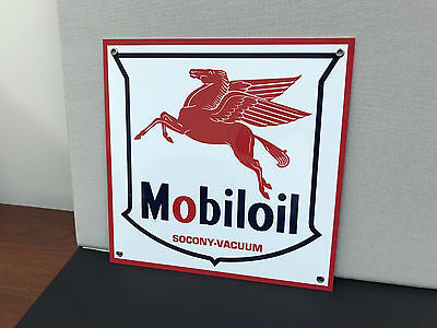 Mobil oil Mobiloil pegasus gasoline racing vintage advertising sign