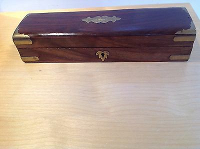 Vintage Hard wood and Brass Glove box or treasure chest Trunk