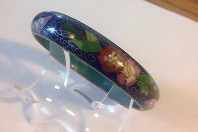 Vintage Cloisonne Bangle Bracelet Flowers Blue Enamel H128