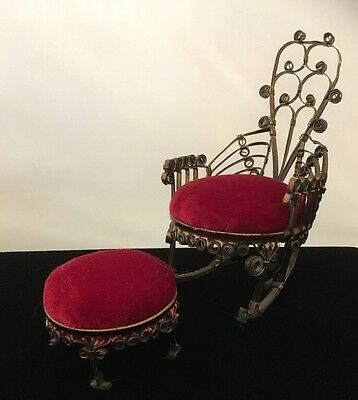 Vintage Handmade Chair And Ottoman Pin Cushion Set, Tramp Art Come UpCycled