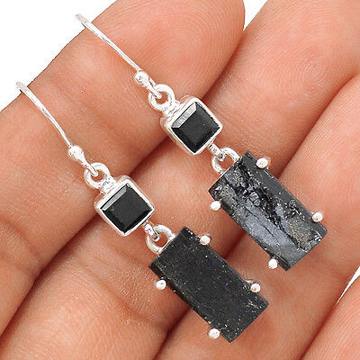 Black Tourmaline Rough, Black Onyx 925 Sterling Silver Earrings Jewelry EE39490