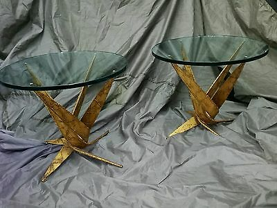 Pair of Silas Seandel Brutalist Occasional Table Mid Century Modern Torch Cut