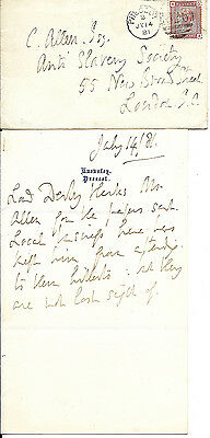 1881 letter posted prescot lord derby to anti slavery society