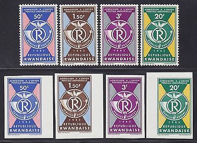 Rwanda 1963 Stamps Cob#37/40 Perf & Imperfored sets - Unused MNH Luxe......A3070