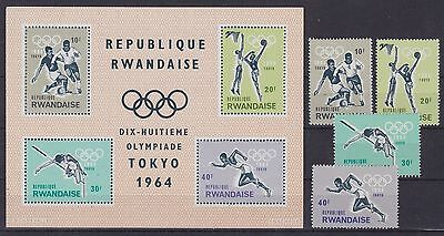 Rwanda 1964 Stamps set & Souvenir sheet -TOKYO OLYMPICS- Unused MNH Luxe...A3068