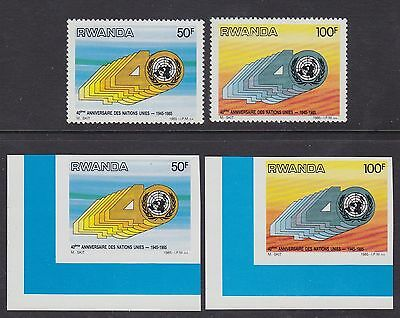 Rwanda 1985 Stamps Cob#1243/44 Perf & Imperfored sets - Unused MNH Luxe....A3071
