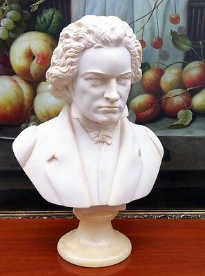 Quality Parian Bust Of Beethoven On A Marble Pedestal Base , Signed Giannelli