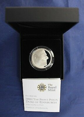"2011 Silver Proof £5 coin ""Prince Philip's 90th"" in Case with COA   (A10/63)"