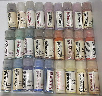 28 Carousel Colors glass Vials Overglaze China Paint Powder for Porcelain