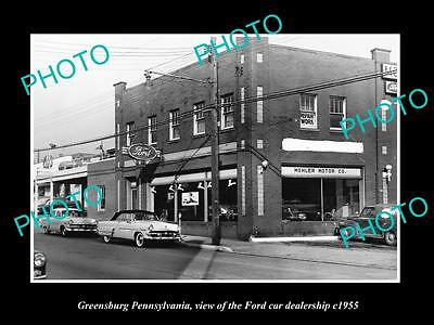OLD LARGE HISTORIC PHOTO OF GREENSBURG PENNSYLVANIA FORD CAR DEALERSHIP c1955