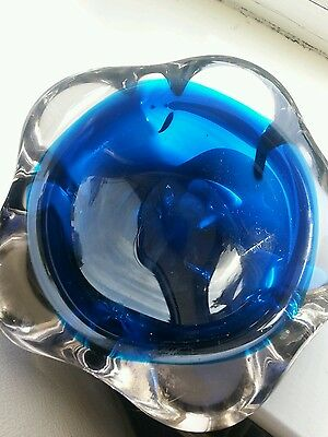 Rare Vintage Holmegaard Blue Ashtray Bowl Flower Art Deco