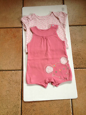M & S 2 Piece Set, All In One And T Shirt Top Set  Size Age 3 - 6  Months Pink