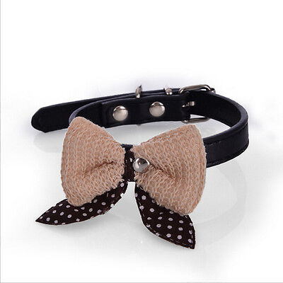 Knit Bowknot PU Leather Dog Puppy Pet Cat Collars Cute Necklace Black Size Small