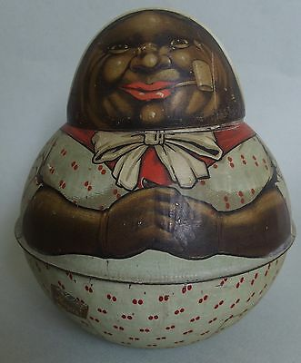 "Very Htf ""black Mammy"" Roly Poly Advertising Tobacco Tin Great Graphic Near Mint"